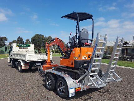 LoadMaxx Aluminium excavator trailer 2T- 2.5T for mini excavators