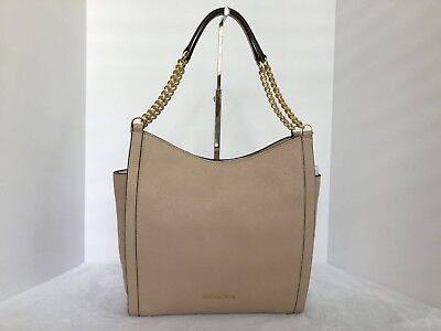 MICHAEL Michael Kors Newbury Leather Medium Chain Shoulder Tote Bag Color-Oyster