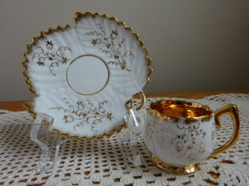 Petite Teacup and Leaf Saucer in White with Gold Trim and Filigree