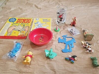 Vintage Disney Skippy Beetleware Mickey Mouse Club Jaq Dumbo Song Book Glass Lot