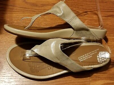 Suede Thong Wedge Sandal (FitFlop Banda Thong Wedge Sandal Opul Shimmer Suede Nude Wo's  EUR 42 (US)