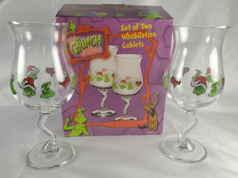 Dr. Seuss How the Grinch Stole Christmas Set of 2 Whobilation Goblet Glasses
