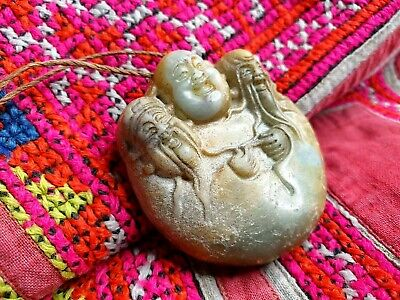Old Chinese Carved Stone Buddha Necklace on Cord …beautiful collection & accent.