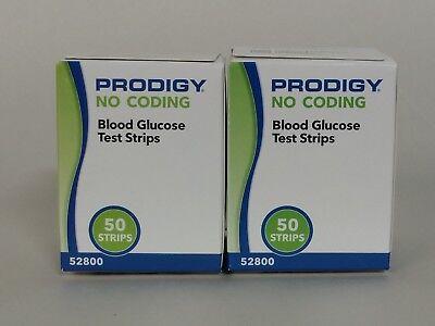 100 Prodigy no coding blood glucose test strips