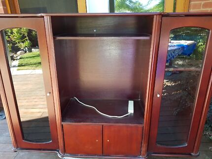 Seven piece wall unit with feature glass doors and a pine dresser ...