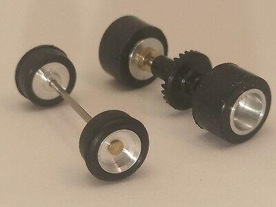 NeW TOMY AFX Mega G Plus Complete Set of Machined Aluminum Rims w Gear MINT