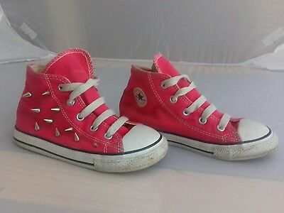 Converse All Stars dark pink size infant 10 hightops with spikes. FAST POSTAGE