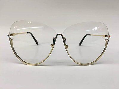Semi-Rimless OVERSIZE VINTAGE RETRO Style Clear Lens Sun Glasses Gold  Frame