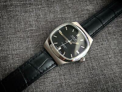 Vintage Oris 17 Jewels Incabloc Manual Wind Gents Swiss, Black Sand Dial