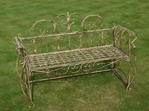 French Shabby Chic Vintage Style Rustic Metal Wrought Iron Garden Bench Seat