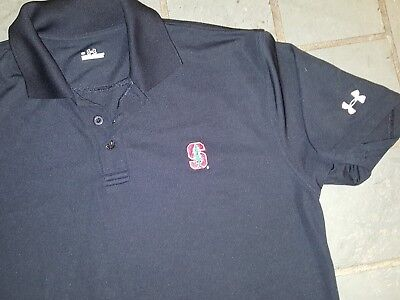 Under Armour Stanford University Mens Black Polo Shirt Embroidered Logo Ncaa