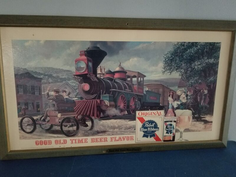 (VTG) 1960s PABST BEER TRAIN LOCOMOTIVE & TOWN BAR SIGN GAME ROOM PBR