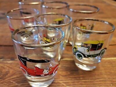 Lot of 7 vintage classic car shot glasses / Morris Austin Sunbeam Ford Wolseley