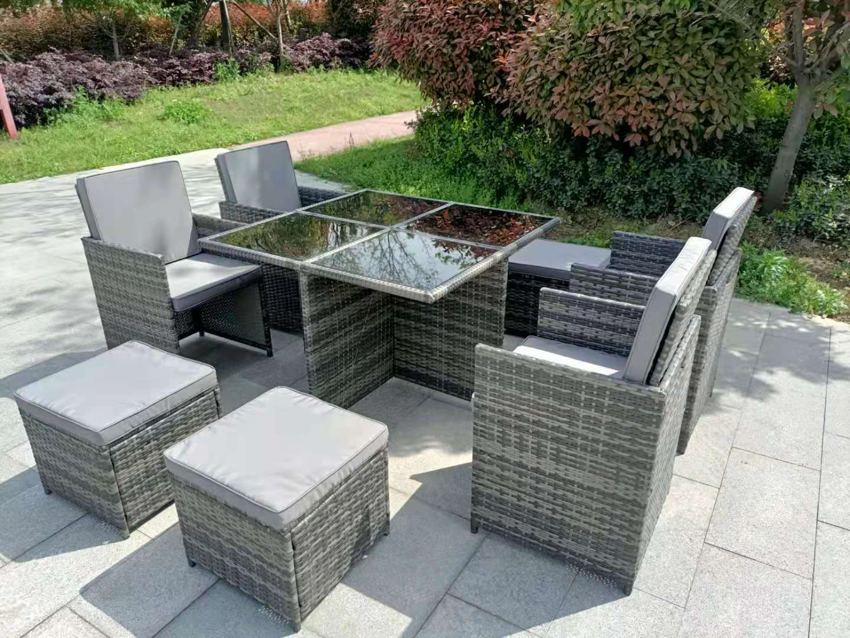 Garden Furniture - Garden conservatory furniture 8 seater grey cube rattan sofa set dining table