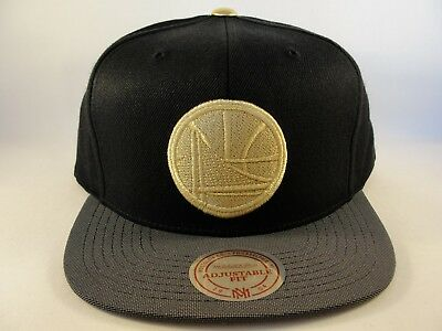 Golden State Warriors NBA Mitchell & Ness Gold Tip Snapback Hat Cap - Gold State Warriors