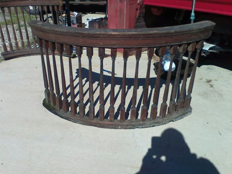 antique stair railing Balcony 1/4 Round Ballisters Butternut Wood Architectural