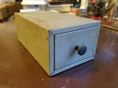 Vintage Lit-ning Gray Metal Desktop Card File Box Rusty Industrial Drawer