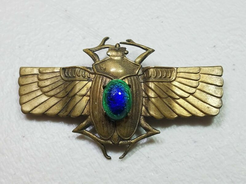 AMAZING EGYPTIAN WINGED SCARAB ANTIQUE PEACOCK EYE BUG BROOCH