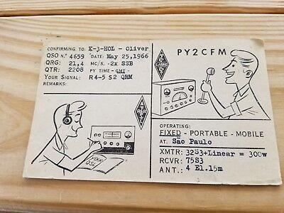 1966 QSL card Postcard PSE Sao Paulo Brasil Brazil Fixed Portable Mobile Radio
