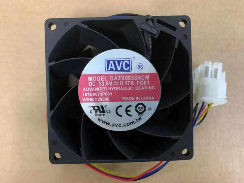 new AVC DAZB0838RCM-PG01 13.6V 0.17A 4-wire temperature control fan