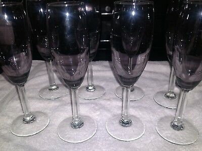 Purple Champagne Glasses (Amethyst Purple  Glass Champagne Flutes Clear Stem Set of)