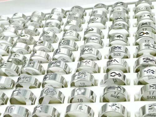 Wholesale 100pcs/lots Silver Hollow Stainless Steel Rings For Men Women Jewelry
