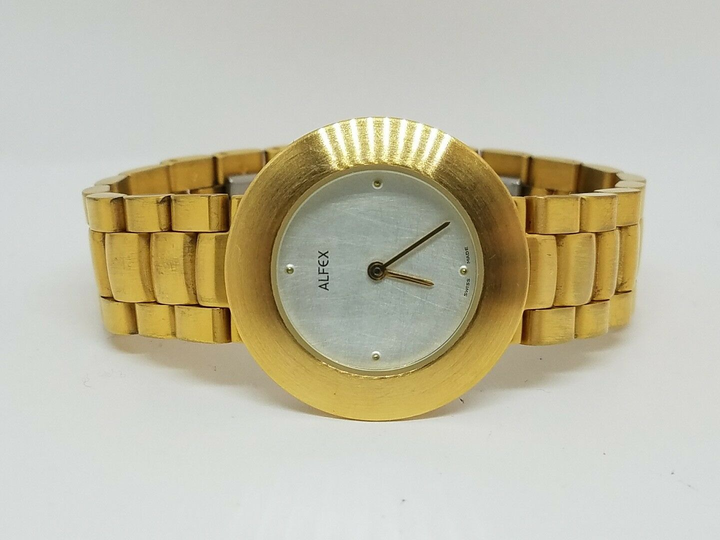 4a4ce0c582d Details about Alfex Ladies Gold Tone Stainless Steel Case Silver Dial Swiss  Made Watch