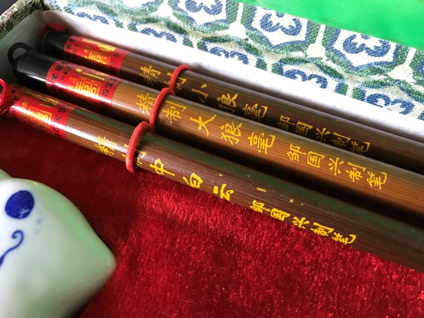 Old Chinese Calligraphy Set In Presentation Box Nice