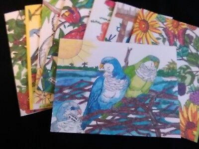 BIRDS COLORFUL BIRDS Blank Note Cards.  Set of 8.