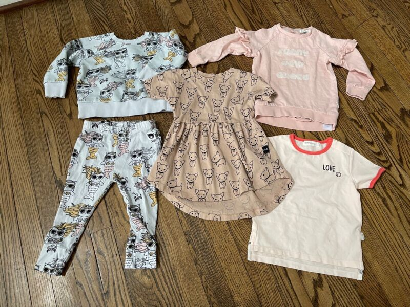 HUXBABY + MILES BABY - Size 1-2 Y 12 18 24 Months - Lot 5 Toddler Shirts Pants