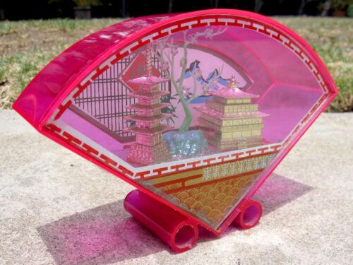 Vintage Mid Century Kitschy Chinese Diorama Shadow Box Bright Fluorescent Pink