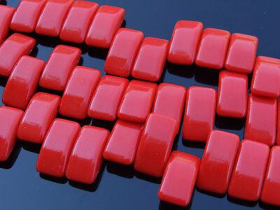 15x Czech Carrier Glass Beads Twin Hole Beads 9x17mm Red