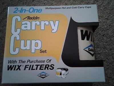 Plastic Coffee Mug (NIB Vintage Wix Dana Oil Filters Aladdin Insulated Plastic Coffee Mug Cup Set)