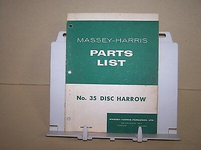 Massey Harris No 35 Disc Harrow Illustrated Factory Parts List Book Original