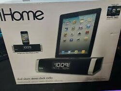 iHome iD45 Dual AM/FM Clock Radio iPod/iPhone Aux-In Speaker System Black