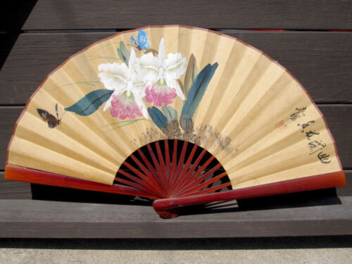 """Vintage 25"""" Opened Hand Painted Watercolor Chinese Paper Fan Butterflies Orchids"""