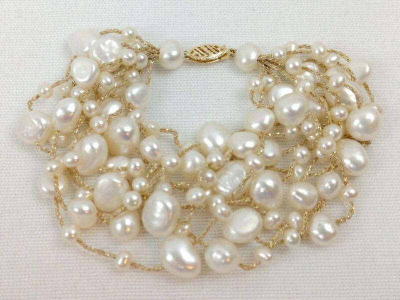 Vintage 9 Strand Freshwater Pearl Bracelet 14K Yellow Gold Clasp