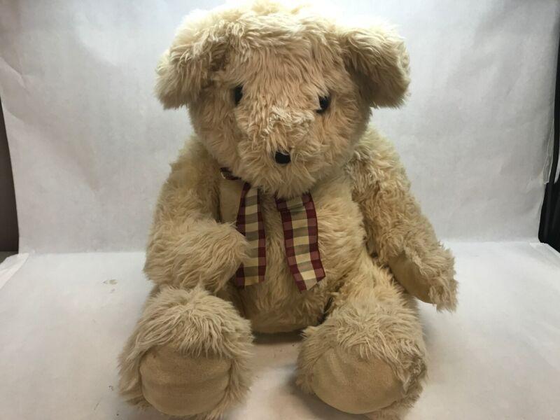 FAO SCHAWRZ Vintage TEDDY BEAR with PLAID BOW TIE Eyes CLASSIC