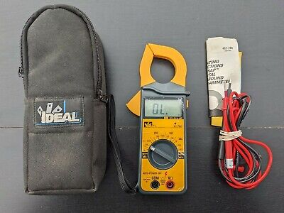 Ideal 61-760 Clamp-on Meter W Leads Carrying Case Manual - Tested Cleaned
