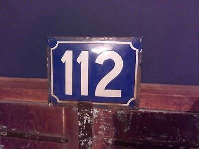 ANTIQUE VINTAGE ENAMEL METAL DOOR HOUSE NUMBER SIGN 112