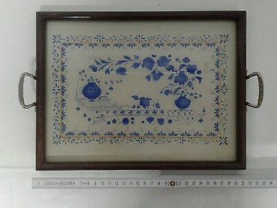 altes Tablett Holz Glas Serving Tray Glastablett Henkel