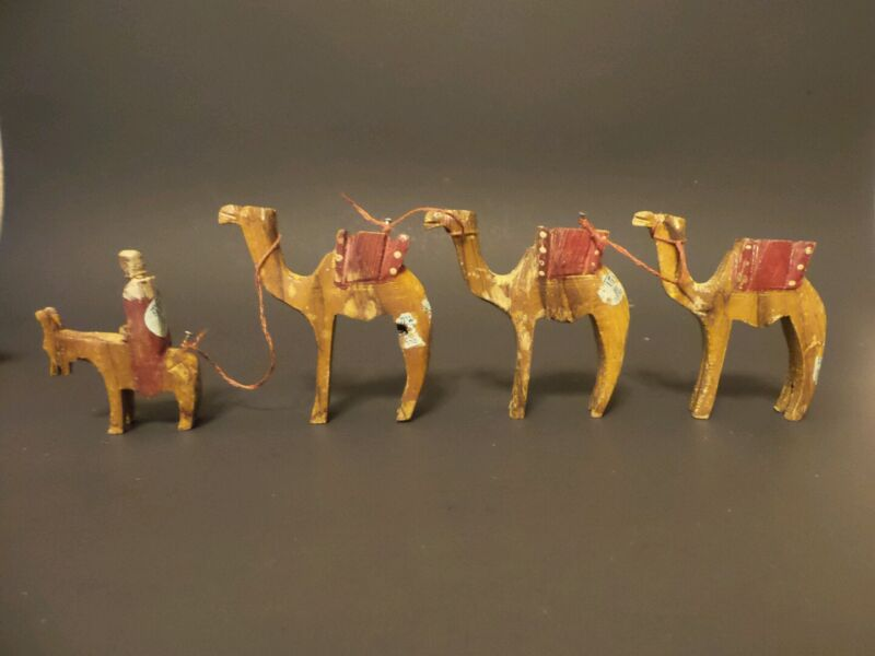 *Vintage* Hand Carved Camel Donkey Olive Wood Ornament Nativity Caravan