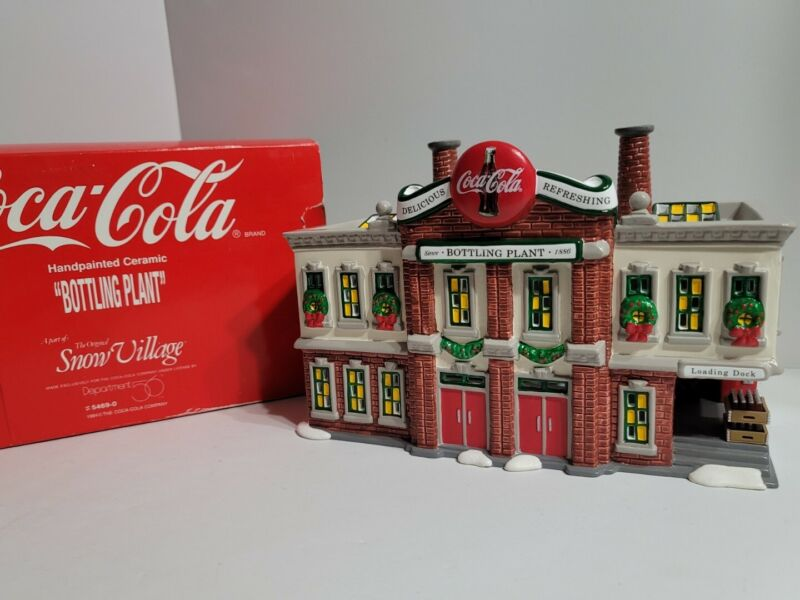 Vintage Coca Cola Bottling Plant Dept. 56 Christmas Village Houses Has Light