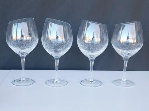 "(2) ANGLED RIM CRACKLE *Retired*  Pier 1 Red Wine Glasses 8 5/8"" Stunning!"