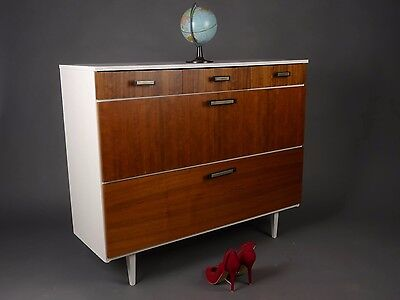 MID CENTURY NUTWOOD XL SHOE CABINET DRAWERS CHEST SCHUHSCHRANK KOMMODE 60s 60er
