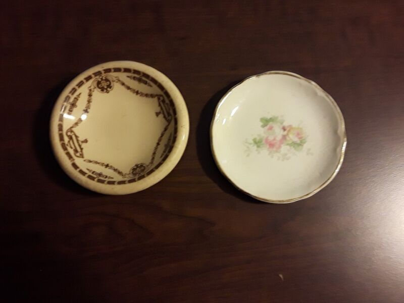 Beautiful Butter Pats One Brown Transfer Ironstone & A Vintage Cabbage Rose