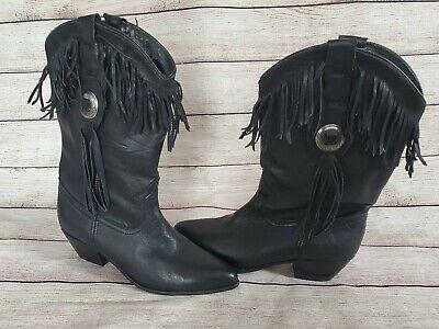 Vtg ACME Womens Genuine Leather Western Boots - size 7M - black fringe conch