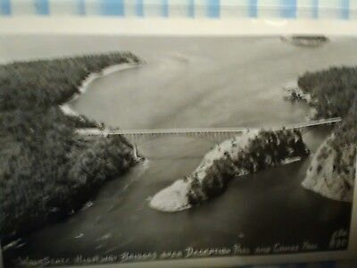 vintage photo post card AERIAL VIEW OVER DECEPTION PASS & CANOE ISL WHIDBEY WASH