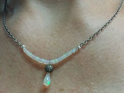Tear drop pear Ethiopian fire Opal pave Diamond ball silver pendant necklace  Diamond Pear Opal Pendant