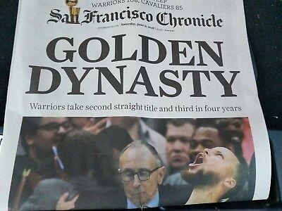 San Francisco Chronicle Newspaper 2018 Golden State Warriors NBA Champs 6/9 FULL